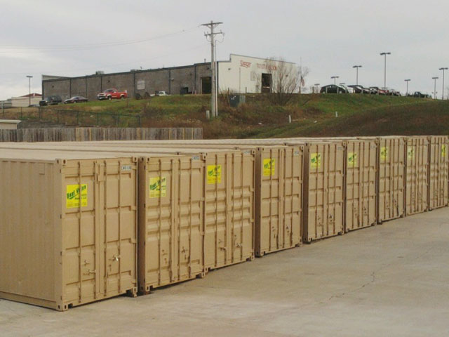 A series of Best Value Mobile Storage rental containers on-site at Walmart